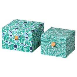 IKEA LANKMOJ Dekobehälter 2 St. Aufbewahrung & Organisation > Kleinaufbewahrung & Organisation > Aufbewahrung Papiere & Medien > Schubladenreibtischzubehör, grün/blau, geblümt