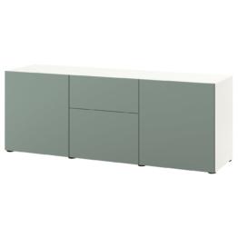 IKEA BESTÅ Aufbewahrung mit Schubladen Möbel > Schubladenränke, Vitrinen & Sideboards > Aufbewahrungssysteme, Wohnzimmer > BESTÅ System > BESTÅ Kombinationen, Weiß/notviken graugrün