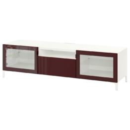 IKEA BESTÅ TV-Bank Möbel > Schubladenränke, Vitrinen & Sideboards > Aufbewahrungssysteme, Wohnzimmer > BESTÅ System > BESTÅ Kombinationen, Weiß selsviken/nannarp/hochglanz dunkel rotbraun