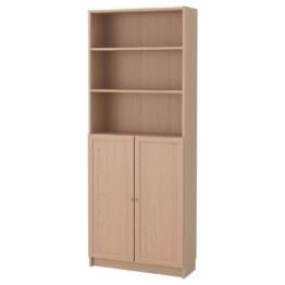 IKEA BILLY / OXBERG Bücherregal mit Türen Möbel > Regale & Bücherregale > Regale, Eichenfurnier weiß lasiert
