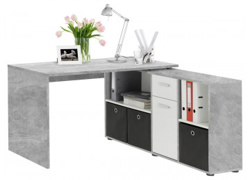 Schreibtisch Beton-Optik/weiß