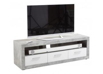 TV-Lowboard Beton-Optik/weiß glänzend ca. 152 x 49 x 46 cm