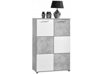 Kommode Zero Beton Optik/weiß, 2türig ca. 120 cm hoch